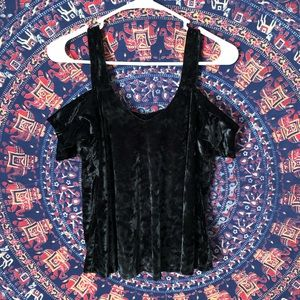 Tops - Velvet Off The Shoulder Black Top Size Small
